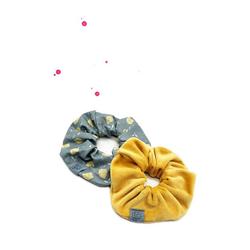 Wishproject® Spiral-Haargummi Scrunchie Set Zitronenlimo, Hochwertig Scrunchie Set, 2 Stück langlebig und für immer stilvoll, Hergestellt in Deutschland, Ohne Metall Angenehmer Tragekomfort