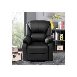 Flieks Relaxsessel, Fernsehsessel Leder Sofa Tilt Sofa Push Back Sessel für Home Lounge Gaming Cinema High-Back schwarz