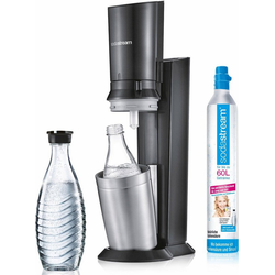 SodaStream Wassersprudler Crystal 2.0, (Set, 1 Wassersprudler, 1 Glaskaraffe, 1 Zylinder) grau