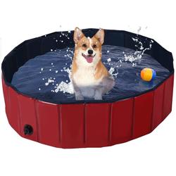 COSTWAY Badewanne Haustierpool Swimmingpool Hundebadewanne Pet Bath Pool rot 120 cm x 120 cm x 30 cm