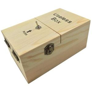 Maijia Useless Box Wooden Macht Sich selbst fertig zusammengebaut Funny Toy Lassen Sie Mich allein Machine Box für Geburtstag und Party Geschenk Toy Game (Beige, Useless Box)