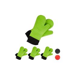 relaxdays Topfhandschuhe 4x Ofenhandschuhe Silikon grün
