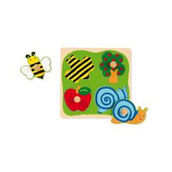 Goula Steckpuzzle GOULA Holzpuzzle- 4 Teile- Biene, Apfelbaum, Apfel, Puzzleteile