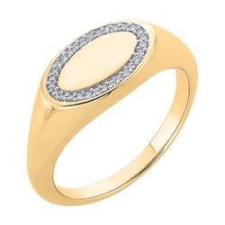 Goldener Siegelring in ovaler Form mit Diamanten Keylo