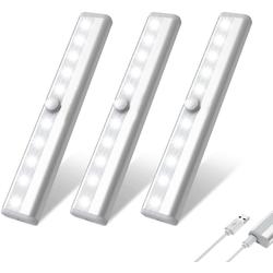 Oneid Schrankleuchte LED Schrankleuchten, 10 LEDs, 3 Stück, Schrankleuchten mit Bewegungsmelder, Kleiderschrank Lampen, Unterbauleiste Beleuchtung, Küchenlampen, Kabinett Nachtlicht, Lichtleisten spiegelschrank Stick-On beige
