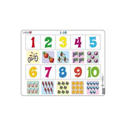 Larsen Puzzle Rahmen-Puzzle, 10 Teile, 36x28 cm, 1 bis 10 Zählen, Puzzleteile