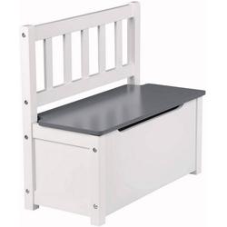 Woltu Kindersitzgruppe, Kindersitzbank mit Stauraum, Spielzeugkiste grau-weiß Modell Kelo