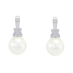 Elegante Perlenohrringe aus Gold mit Diamanten Barbary