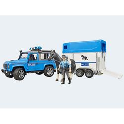 Land Rover Defender Polizei mit Pferdeanhänger und Pferd und Polizist