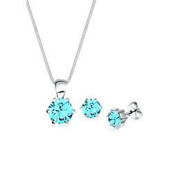 Elli Schmuckset Basic mit Kristall rund blau