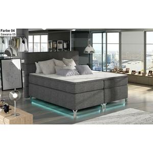 Boxspringbett mit 2 Bettkasten ADEN 140/160/180 x 200 LED weiß grau schwarz blau