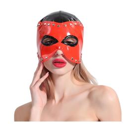 Sandritas Erotik-Maske Bondage Maske glänzend Nieten Rot Schwarz Henkersmaske BDSM, Umfang: ca. 50 - 55 cm