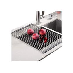"""Rainsworth Geschirrständer, Zubehör für abtropfgestell Geschirrständer - Kein Platzbedarf Leicht hitzebeständiges Aufrollgeschirrspülgestell aufbewahren - geeignet für Edelstahlspüle abtropfgitter (Größe: 20,8"""""""" x 13,4"""""""", warmes Grau), abtropfgestell grau"""