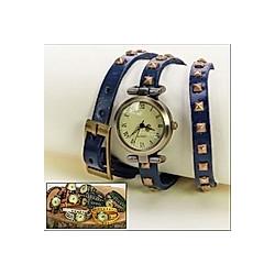 Uhr Retro-Style dunkelblau