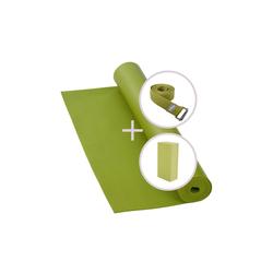 bodhi Yogamatte Yoga Set RISHIKESH Yogamatte mit Block & Gurt olive grün