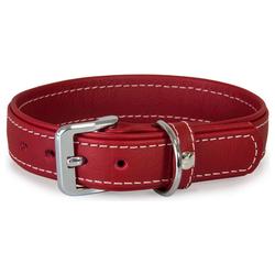Das Lederband Hundehalsband Barcelona Indian-Red, Länge: 35 cm