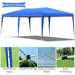 COSTWAY Pavillon Pavillon faltbar inkl. Tragetasche blau 300 cm x 600 cm x 250 cm