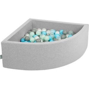 KiddyMoon Bällebad 90X30cm/200 Bälle Bällepool Mit Bällen ∅ 7Cm Für Babys Kinder Viertel Eckig, Hellgrau:Perle/Grau/Transparent/Baby Blau/Mint