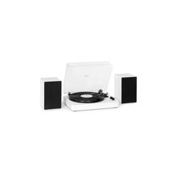 Auna TT-Play SE Plattenspieler Lautsprecher 20Wmax. BT 33/45/78rpm PitchControl AUX-In Line-Out weiß Plattenspieler (Riemenantrieb, Bluetooth, Plattenspieler inklusive zwei Stereolautsprechern)