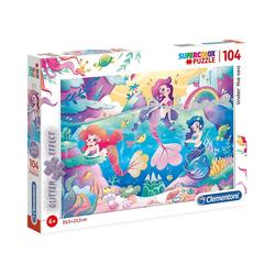 Clementoni® Puzzle Glitter Effect Puzzle 104 Teile - Unterwasser, Puzzleteile