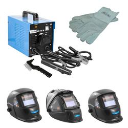 Güde Elektrodenschweißgerät GE 145 W mit Handschuhe und Schweißhelm, Schweißhelm: Automatikschweißhelm GSH-K