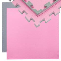 Trainingsmatte Puzzlematte Sportmatte 90x90x2cm Grau Pink