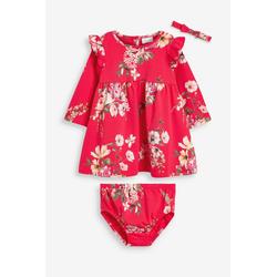 Next Kleid & Haarband Kleid, Unterhose und Haarband mit Blumendruck (3-tlg) 86-92