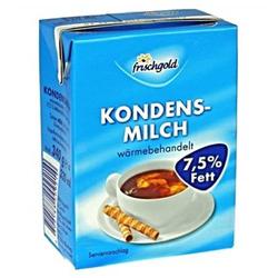 Frischgold Kondensmilch mit 7,5 % Fett, Inhalt: 340g. Mindesthaltbarkeit: ca. 6