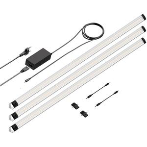 LED Unterbau-Leuchte SIRIS, Eckmontage, flach, je 90cm, 800lm, warm-weiß 3er Set