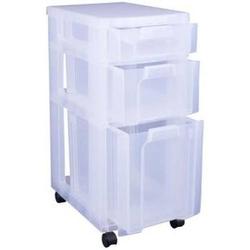 Aufbewahrungs-Boxenturm BxTxH 42x30x69cm 3 Schübe transparent