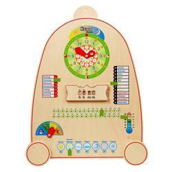 howa Lernspielzeug Kalenderuhr, Lernuhr aus Holz mit Kalender, Jahreszeiten und Wetter