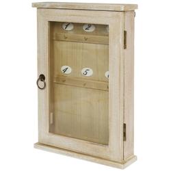 elbmöbel Schlüsselkasten Schlüsselkasten Holz braun Vintage, Schlüsselschrank Holz braun Landhaus shabby chic Vintage Glastür Schlüsselbrett