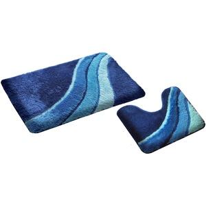 S&S-Shop Badematte Set | Blau | Kiel | mit Ausschnitt | 2 teilig | rutschfest | WC-Vorleger 50 x 45 cm | Badvorleger 50 x 90 cm | Badteppich | Teppich | Bad | Badezimmer
