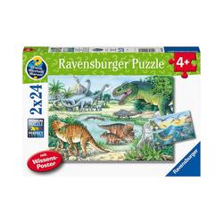 Ravensburger Puzzle Puzzle Saurier und ihre Lebensräume, 2x20/2x24, Puzzleteile