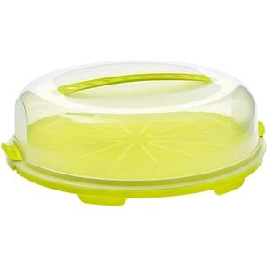 Rotho Fresh flache Tortenglocke mit Haube und Tragegriff, Kunststoff (PP) BPA-frei, grün/transparent, (35,5 x 34,5 x 11,6 cm)