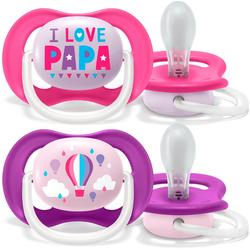 Philips AVENT Schnuller SCF080/04, ultra air Schnuller, 6 bis 18 Monate Girl, Kiefergerecht und BPA-frei, Doppelpack, Papa/Balloon