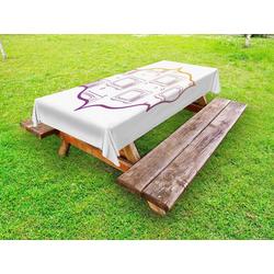 Abakuhaus Tischdecke dekorative waschbare Picknick-Tischdecke, Fernsehsendung Outline Fernseher 145 cm x 305 cm