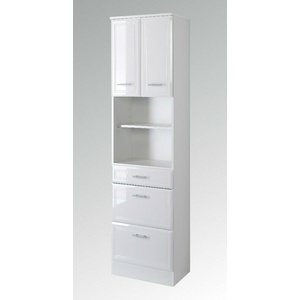 Badezimmer Hochschrank NEAPEL Seitenschrank 2 Türen 3 Schubkästen 50 cm weiss