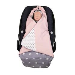 Einschlagdecke Einschlagdecke Babyschale Rosa Grau (0 bis 9 Monate) TOG-Wert 2,5, ULLENBOOM ®, Ideal für den Autositz (3- und 5-Punkt-Gurtsystem) Made in EU