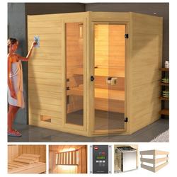 weka Sauna Lars Eck 1, BxTxH: 189 x 139 x 203,5 cm, 38 mm, 7,5 kW Ofen mit ext. Steuerung