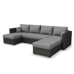 Vicco Wohnlandschaft XXL Ecksofa mit Schlaffunktion Grau - Schlafsofa Sofa Couch