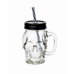 Horror-Shop Geschirr-Set Gothic Totenschädel Trinkglas, Glas/Kunststoff/Metall