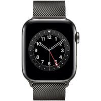 Apple Watch Series 6 GPS + Cellular 44 mm Edelstahlgehäuse graphit, Milanaise Armband graphit