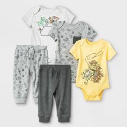 Baby Boys' 5pk Disney Toy Story Short Sleeve Bodysuit - Newborn