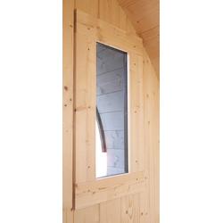 Karibu Saunafenster, 40 mm BxH: 25x60 cm, für Saunafass, Klarglas, naturbelassen beige