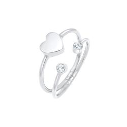 Elli Elli Ring Herz Swarovski® Kristall Stabelring Set 925 Silber