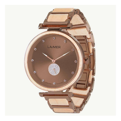 LAiMER Quarzuhr 0155 Maja, Damen Ahorn-Holz Armbanduhr Braun mit Swarovski Kristallen