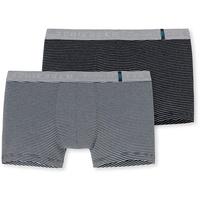 SCHIESSER Boxer grau / schwarz M 2er Pack