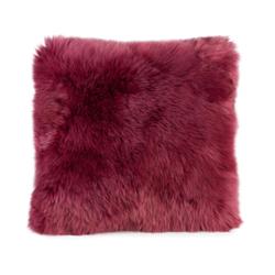 Gözze Schaffell-Kissen, 40 x 40 cm, Echtfellkissen in aktuellen trendigen Farben, Farbe: beere