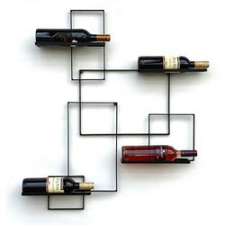 DanDiBo Weinregal DanDiBo Weinregal Metall Schwarz Black Line Flaschenständer Flaschenregal Flaschenhalter Wandregal